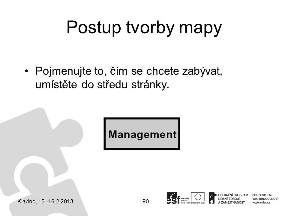 190 Postup tvorby mapy Pojmenujte to, čím se chcete zabývat, umístěte do středu stránky. Kladno, 15.-16.2.2013