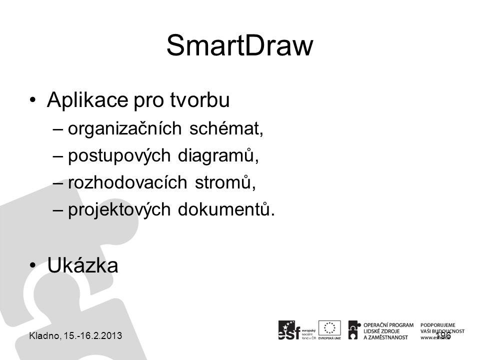 Aplikace pro tvorbu –organizačních schémat, –postupových diagramů, –rozhodovacích stromů, –projektových dokumentů. Ukázka Kladno, 15.-16.2.2013196