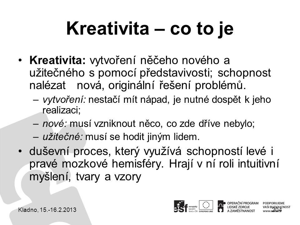 204 Kreativita – co to je Kreativita: vytvoření něčeho nového a užitečného s pomocí představivosti; schopnost nalézat nová, originální řešení problémů