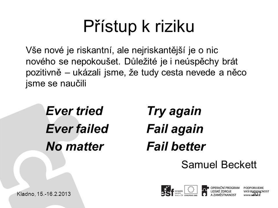 Přístup k riziku Kladno, 15.-16.2.2013207 Try again Fail again Fail better Ever tried Ever failed No matter Samuel Beckett Vše nové je riskantní, ale