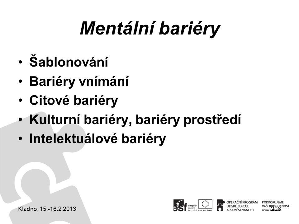 208 Mentální bariéry Šablonování Bariéry vnímání Citové bariéry Kulturní bariéry, bariéry prostředí Intelektuálové bariéry Kladno, 15.-16.2.2013