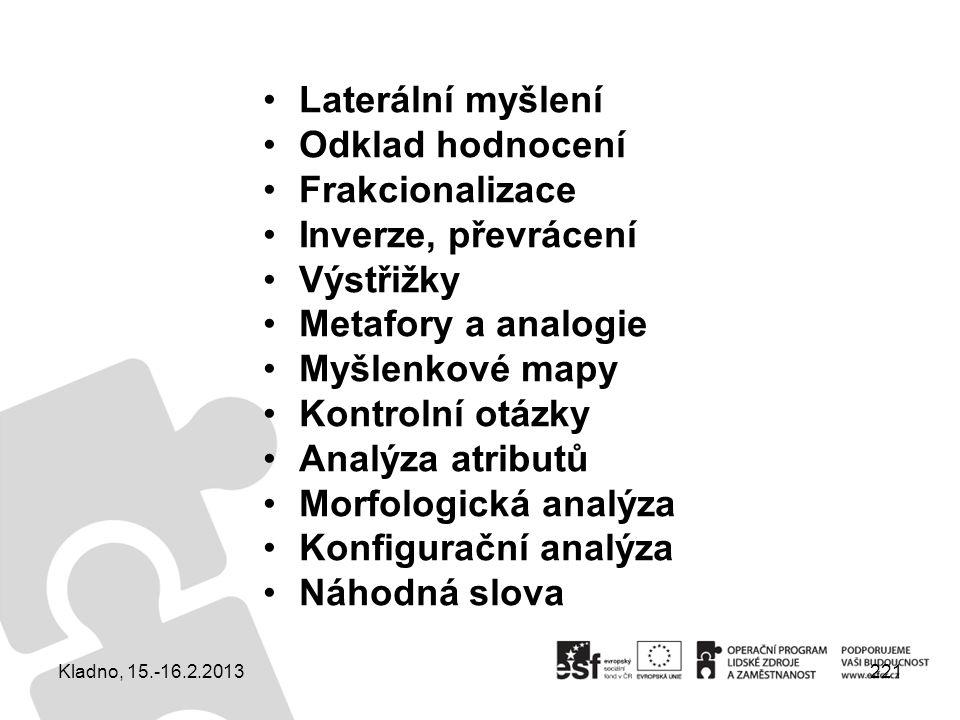 221 Laterální myšlení Odklad hodnocení Frakcionalizace Inverze, převrácení Výstřižky Metafory a analogie Myšlenkové mapy Kontrolní otázky Analýza atri