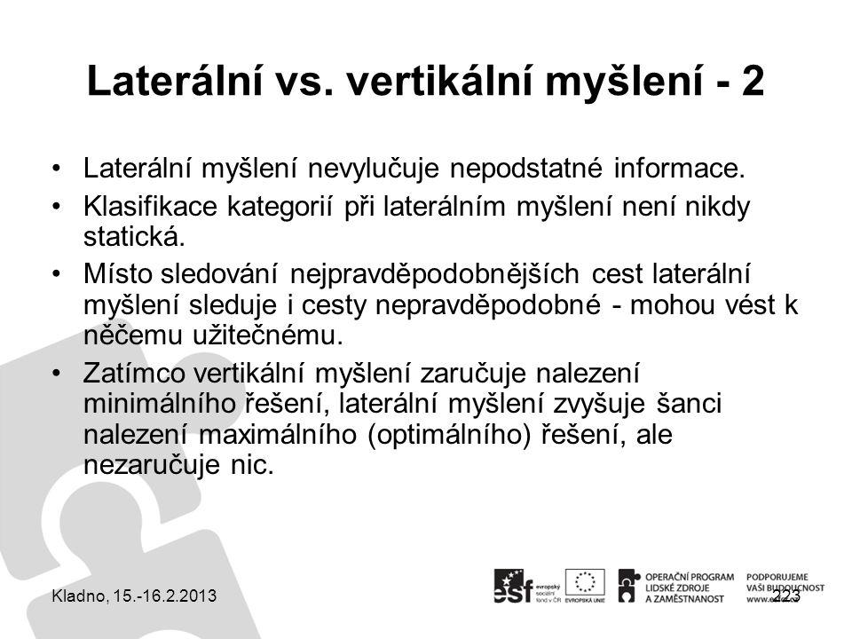223 Laterální vs. vertikální myšlení - 2 Laterální myšlení nevylučuje nepodstatné informace. Klasifikace kategorií při laterálním myšlení není nikdy s