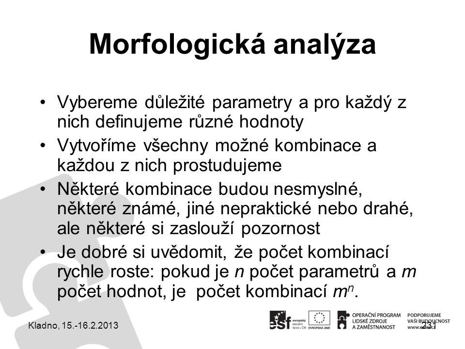 231 Morfologická analýza Vybereme důležité parametry a pro každý z nich definujeme různé hodnoty Vytvoříme všechny možné kombinace a každou z nich pro
