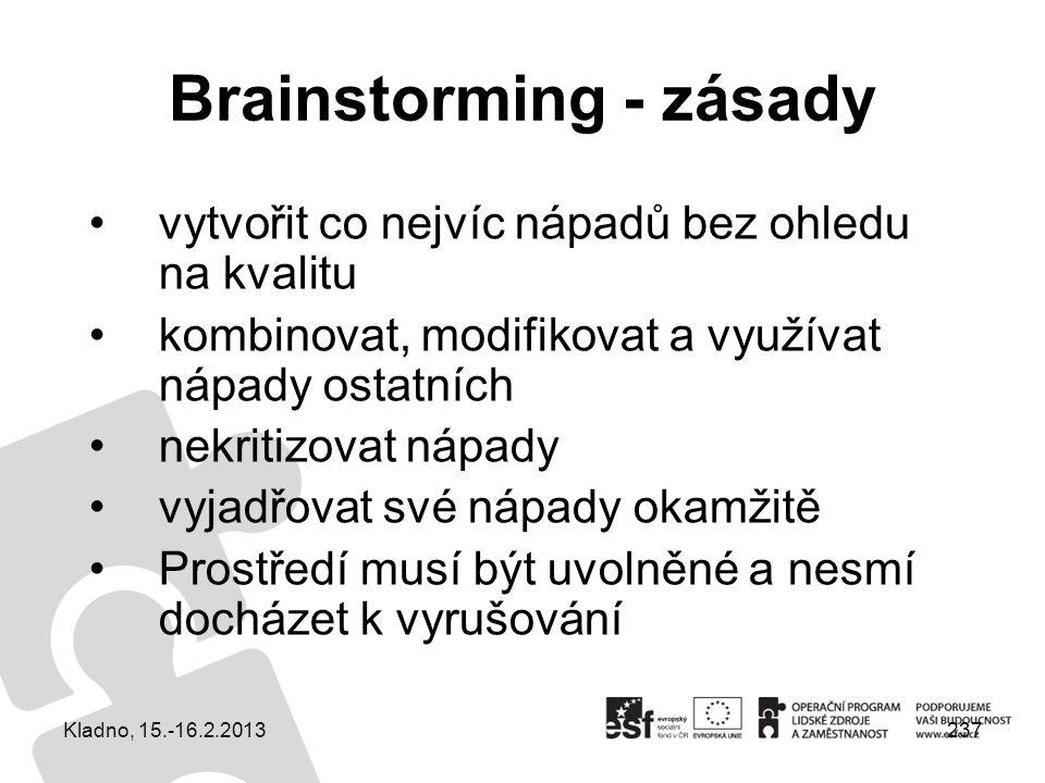 237 Brainstorming - zásady vytvořit co nejvíc nápadů bez ohledu na kvalitu kombinovat, modifikovat a využívat nápady ostatních nekritizovat nápady vyj