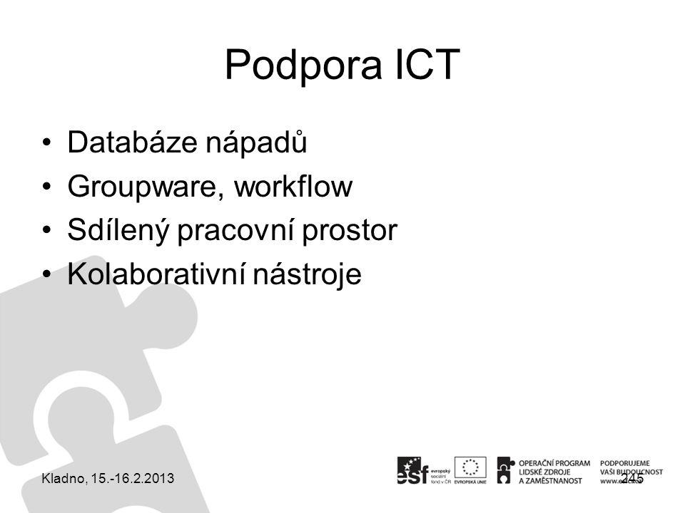 245 Podpora ICT Databáze nápadů Groupware, workflow Sdílený pracovní prostor Kolaborativní nástroje Kladno, 15.-16.2.2013