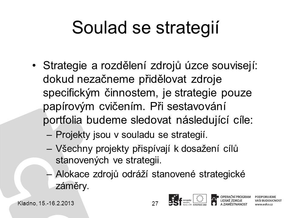 Soulad se strategií Strategie a rozdělení zdrojů úzce souvisejí: dokud nezačneme přidělovat zdroje specifickým činnostem, je strategie pouze papírovým