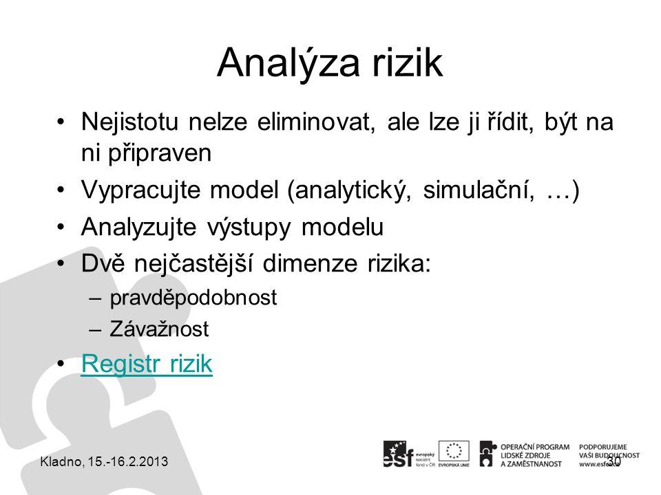 Analýza rizik Nejistotu nelze eliminovat, ale lze ji řídit, být na ni připraven Vypracujte model (analytický, simulační, …) Analyzujte výstupy modelu