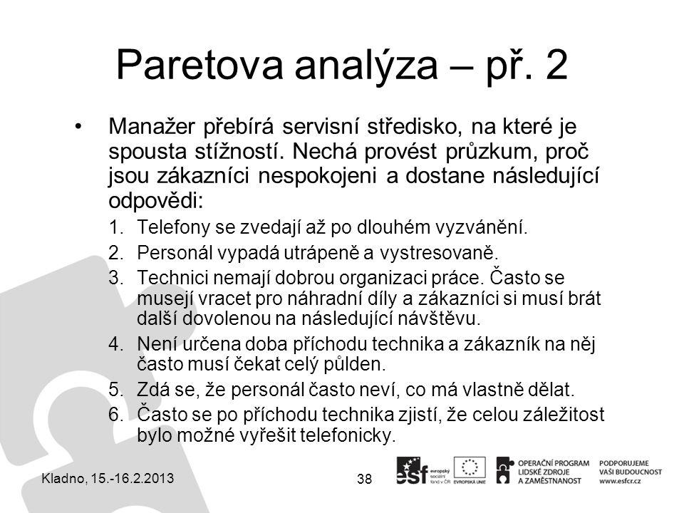 38 Paretova analýza – př. 2 Manažer přebírá servisní středisko, na které je spousta stížností. Nechá provést průzkum, proč jsou zákazníci nespokojeni