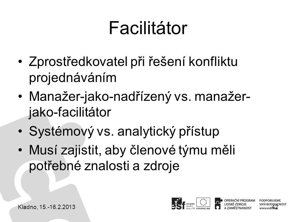 Facilitátor Zprostředkovatel při řešení konfliktu projednáváním Manažer-jako-nadřízený vs. manažer- jako-facilitátor Systémový vs. analytický přístup