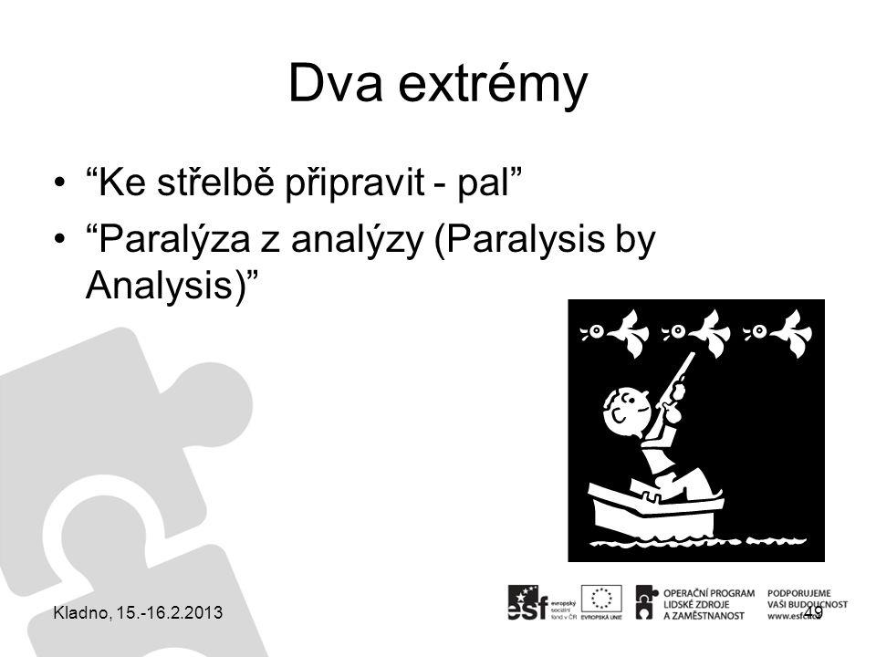 """Dva extrémy """"Ke střelbě připravit - pal"""" """"Paralýza z analýzy (Paralysis by Analysis)"""" 49Kladno, 15.-16.2.2013"""