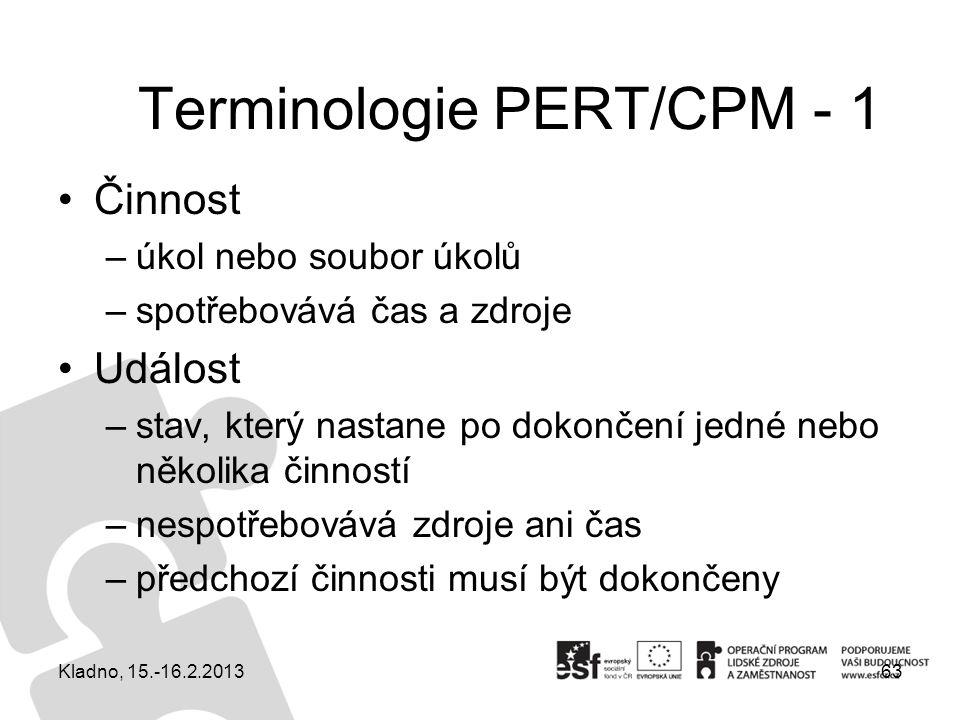 Terminologie PERT/CPM - 1 Činnost –úkol nebo soubor úkolů –spotřebovává čas a zdroje Událost –stav, který nastane po dokončení jedné nebo několika čin