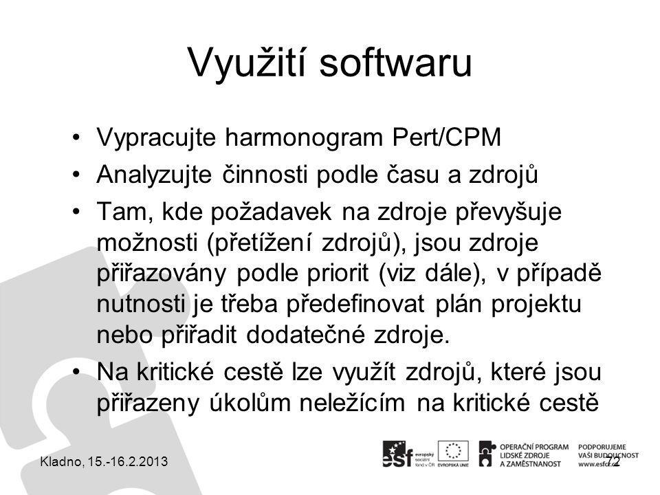 Využití softwaru Vypracujte harmonogram Pert/CPM Analyzujte činnosti podle času a zdrojů Tam, kde požadavek na zdroje převyšuje možnosti (přetížení zd
