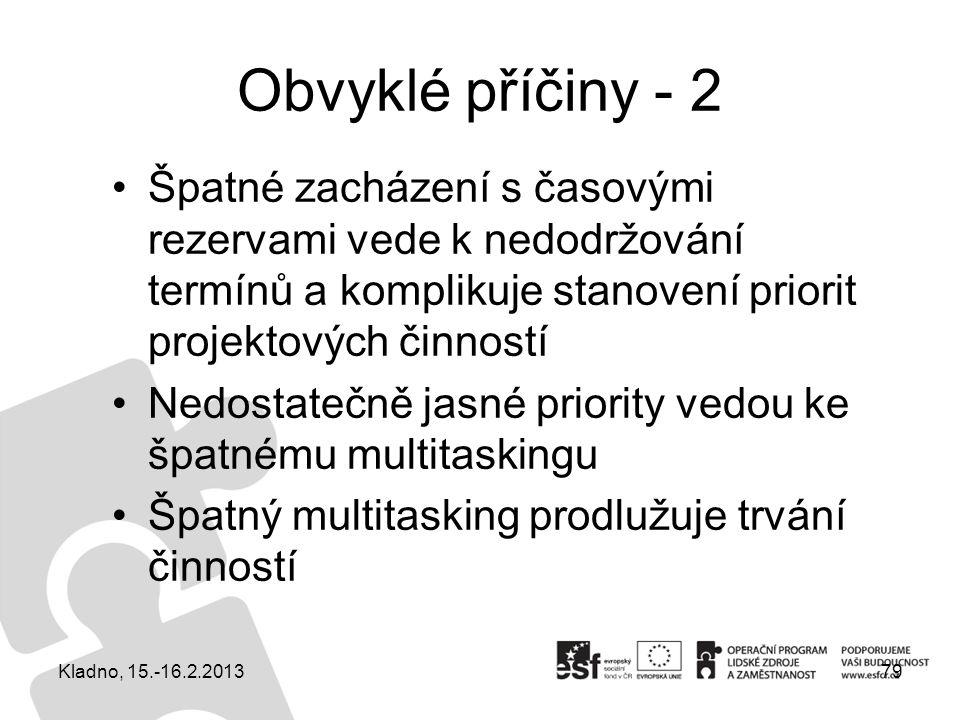 Obvyklé příčiny - 2 Špatné zacházení s časovými rezervami vede k nedodržování termínů a komplikuje stanovení priorit projektových činností Nedostatečn