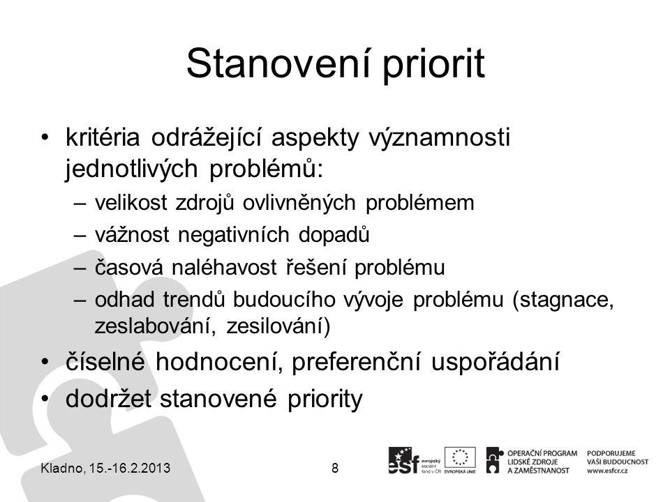 8 Stanovení priorit kritéria odrážející aspekty významnosti jednotlivých problémů: –velikost zdrojů ovlivněných problémem –vážnost negativních dopadů