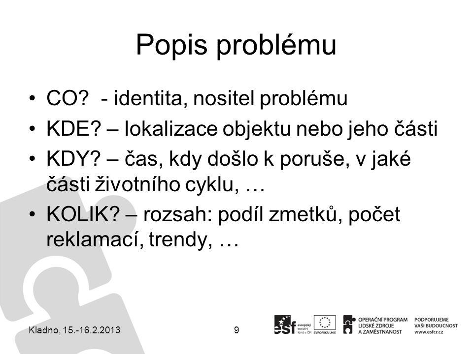 9 Popis problému CO? - identita, nositel problému KDE? – lokalizace objektu nebo jeho části KDY? – čas, kdy došlo k poruše, v jaké části životního cyk
