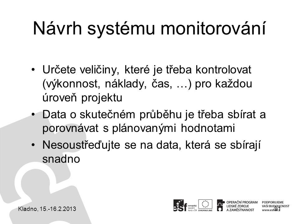 Návrh systému monitorování Určete veličiny, které je třeba kontrolovat (výkonnost, náklady, čas, …) pro každou úroveň projektu Data o skutečném průběh