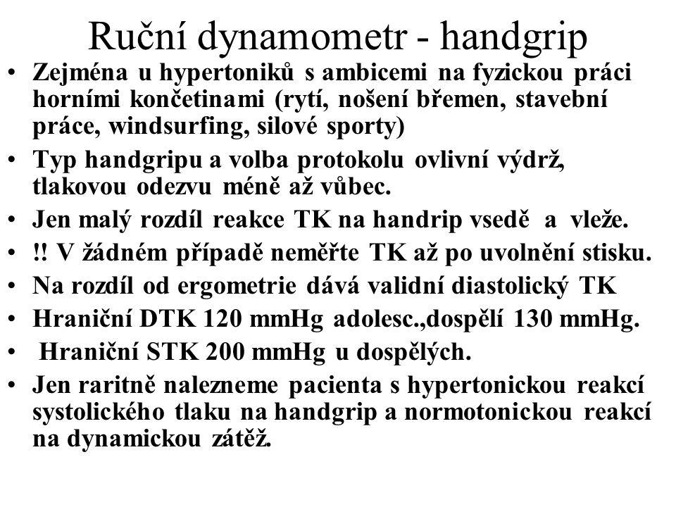 Ruční dynamometr - handgrip Zejména u hypertoniků s ambicemi na fyzickou práci horními končetinami (rytí, nošení břemen, stavební práce, windsurfing,