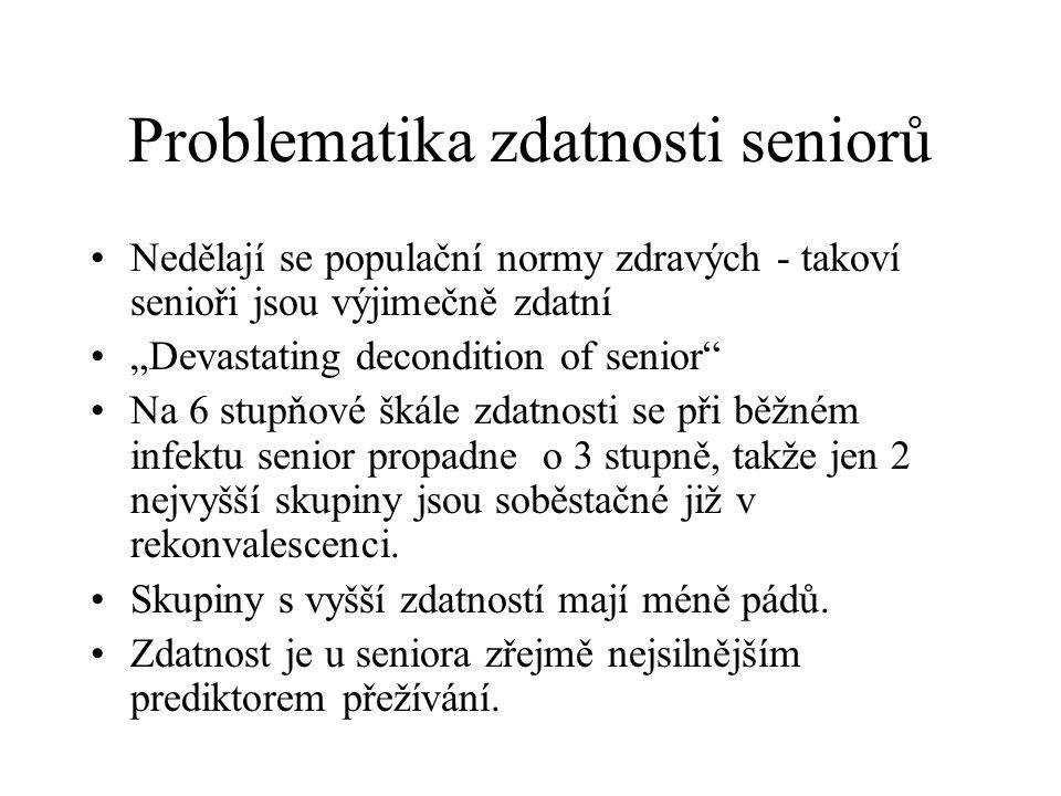 """Problematika zdatnosti seniorů Nedělají se populační normy zdravých - takoví senioři jsou výjimečně zdatní """"Devastating decondition of senior"""" Na 6 st"""