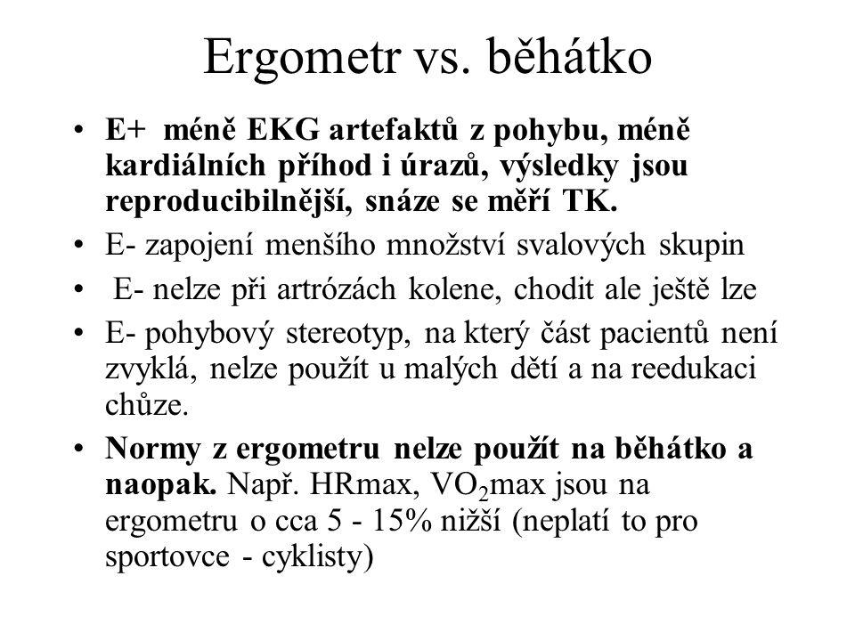 Ergometr vs. běhátko E+ méně EKG artefaktů z pohybu, méně kardiálních příhod i úrazů, výsledky jsou reproducibilnější, snáze se měří TK. E- zapojení m