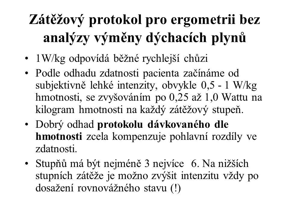 Zátěžový protokol pro ergometrii bez analýzy výměny dýchacích plynů 1W/kg odpovídá běžné rychlejší chůzi Podle odhadu zdatnosti pacienta začínáme od s
