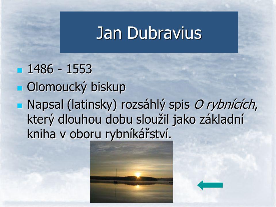 Jan Dubravius 1486 - 1553 Olomoucký biskup Napsal (latinsky) rozsáhlý spis O rybnících, který dlouhou dobu sloužil jako základní kniha v oboru rybníká