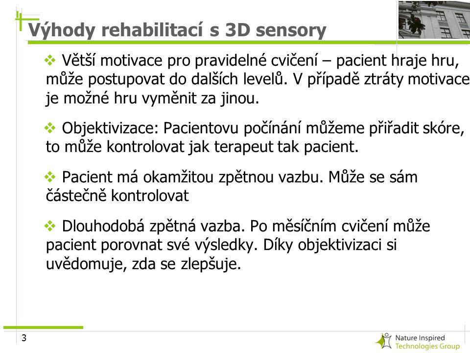 3 Výhody rehabilitací s 3D sensory  Větší motivace pro pravidelné cvičení – pacient hraje hru, může postupovat do dalších levelů. V případě ztráty mo
