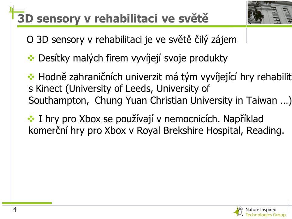 4 3D sensory v rehabilitaci ve světě O 3D sensory v rehabilitaci je ve světě čilý zájem  Desítky malých firem vyvíjejí svoje produkty  Hodně zahrani