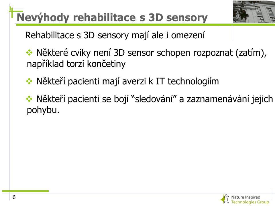 6 Nevýhody rehabilitace s 3D sensory Rehabilitace s 3D sensory mají ale i omezení  Některé cviky není 3D sensor schopen rozpoznat (zatím), například