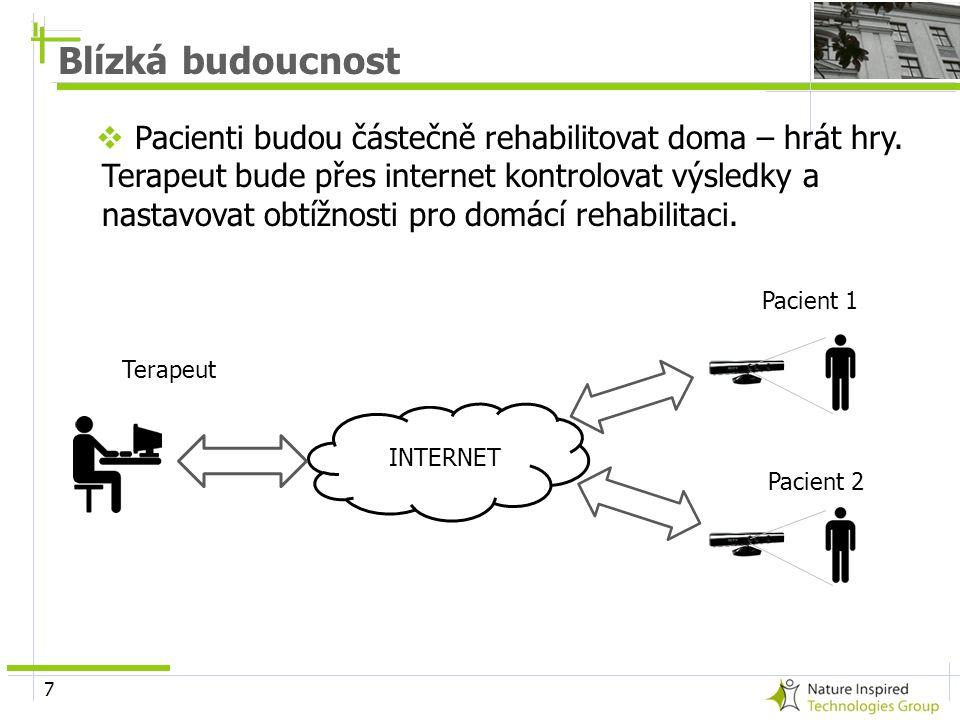 7  Pacienti budou částečně rehabilitovat doma – hrát hry. Terapeut bude přes internet kontrolovat výsledky a nastavovat obtížnosti pro domácí rehabil