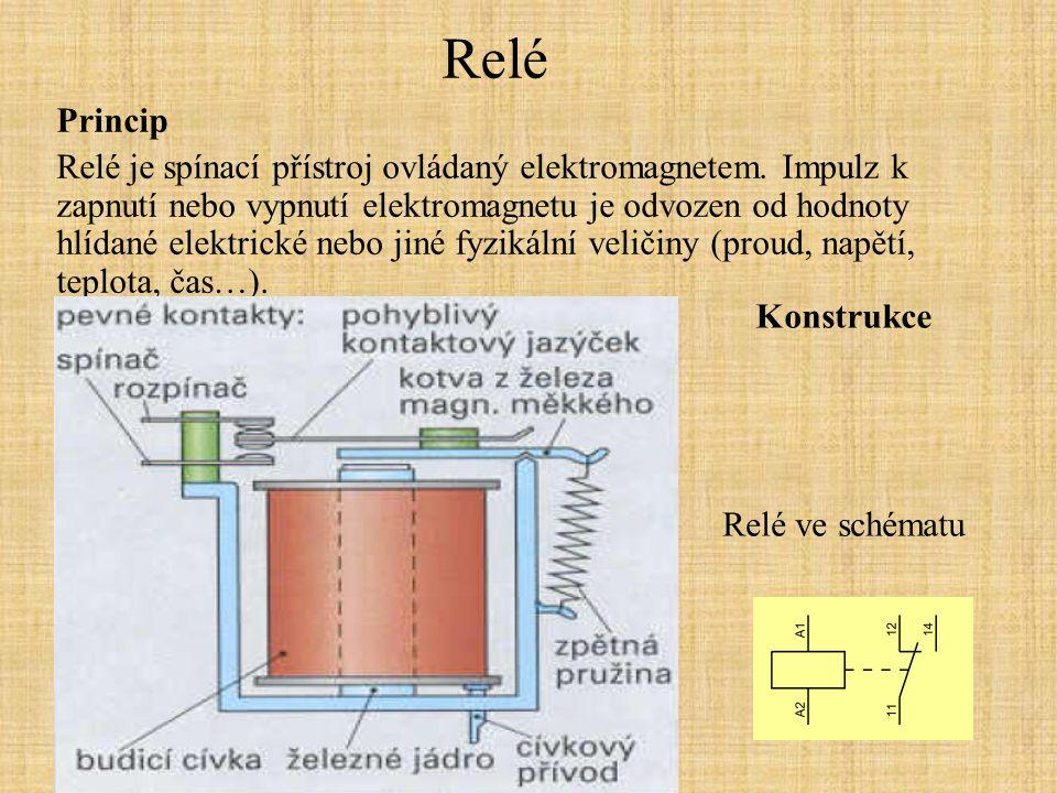 Relé Princip Relé je spínací přístroj ovládaný elektromagnetem. Impulz k zapnutí nebo vypnutí elektromagnetu je odvozen od hodnoty hlídané elektrické
