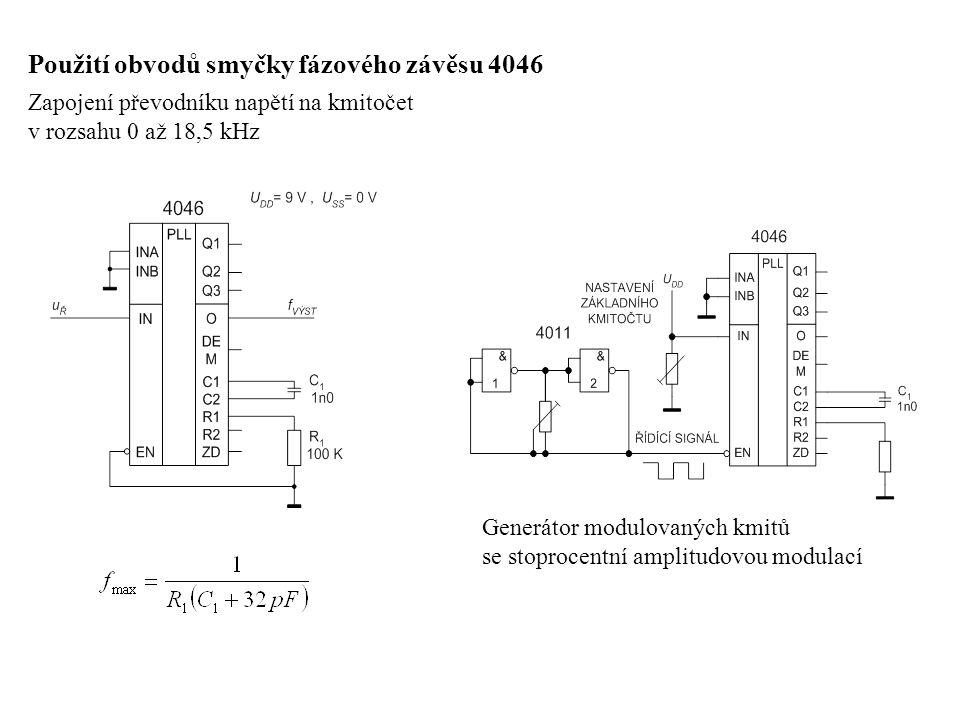 Generátor proměnného FM signálu Analogový měřič kmitočtu s obvodem 4046, pracujícím jako převodník f/U