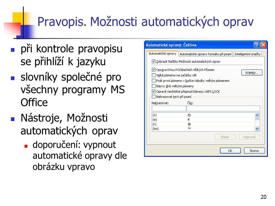20 Pravopis. Možnosti automatických oprav při kontrole pravopisu se přihlíží k jazyku slovníky společné pro všechny programy MS Office Nástroje, Možno