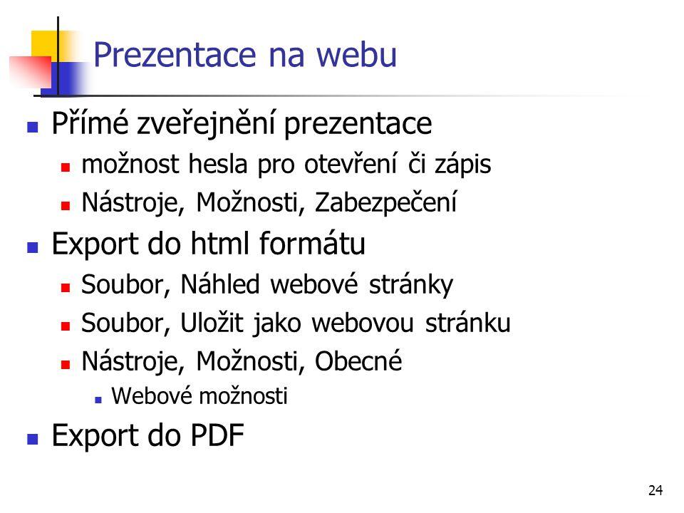 24 Prezentace na webu Přímé zveřejnění prezentace možnost hesla pro otevření či zápis Nástroje, Možnosti, Zabezpečení Export do html formátu Soubor, N