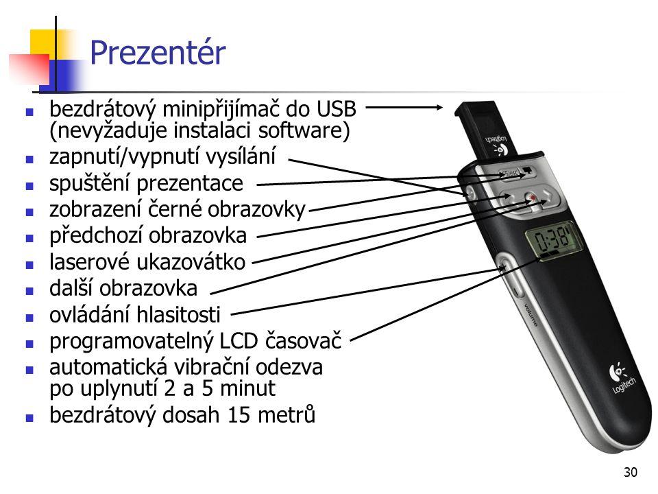 30 Prezentér bezdrátový minipřijímač do USB (nevyžaduje instalaci software) zapnutí/vypnutí vysílání spuštění prezentace zobrazení černé obrazovky pře