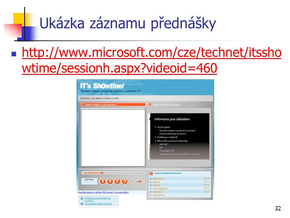 32 Ukázka záznamu přednášky http://www.microsoft.com/cze/technet/itssho wtime/sessionh.aspx?videoid=460 http://www.microsoft.com/cze/technet/itssho wt