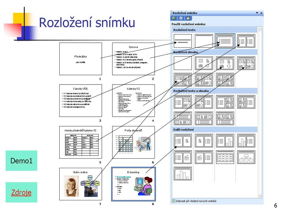 7 Šablona návrhu z menu Formát, Návrh snímku z podokna úloh Návrh snímku Směsice Demo2
