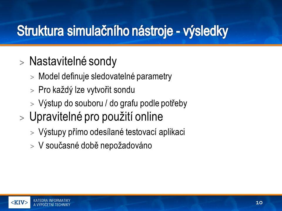 > Nastavitelné sondy > Model definuje sledovatelné parametry > Pro každý lze vytvořit sondu > Výstup do souboru / do grafu podle potřeby > Upravitelné pro použití online > Výstupy přímo odesílané testovací aplikaci > V současné době nepožadováno 10
