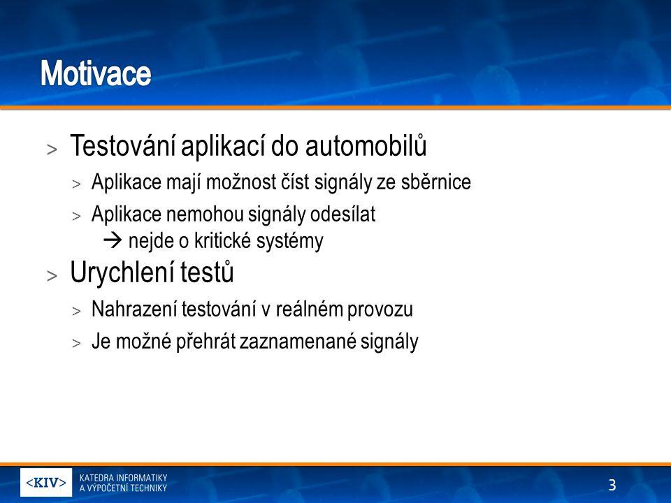 > Testování aplikací do automobilů > Aplikace mají možnost číst signály ze sběrnice > Aplikace nemohou signály odesílat  nejde o kritické systémy > Urychlení testů > Nahrazení testování v reálném provozu > Je možné přehrát zaznamenané signály 3
