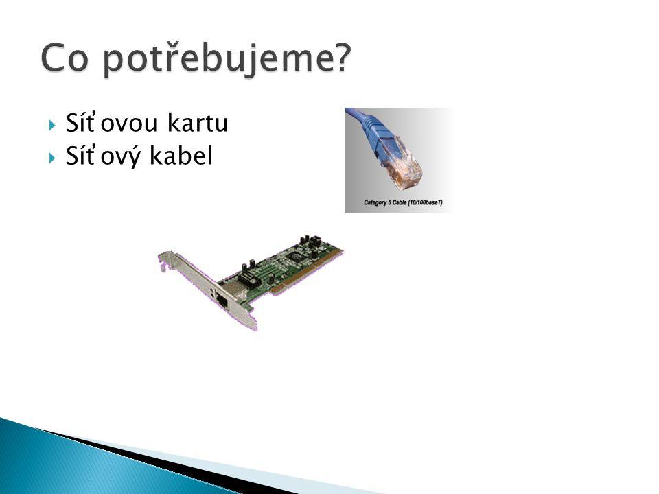  Síťovou kartu  Síťový kabel