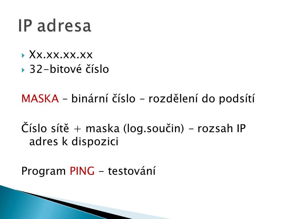  Xx.xx.xx.xx  32-bitové číslo MASKA – binární číslo – rozdělení do podsítí Číslo sítě + maska (log.součin) – rozsah IP adres k dispozici Program PING - testování