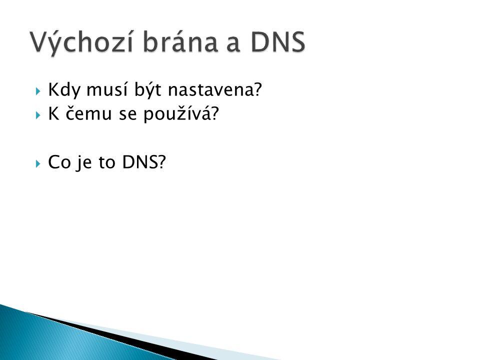  Kdy musí být nastavena  K čemu se používá  Co je to DNS