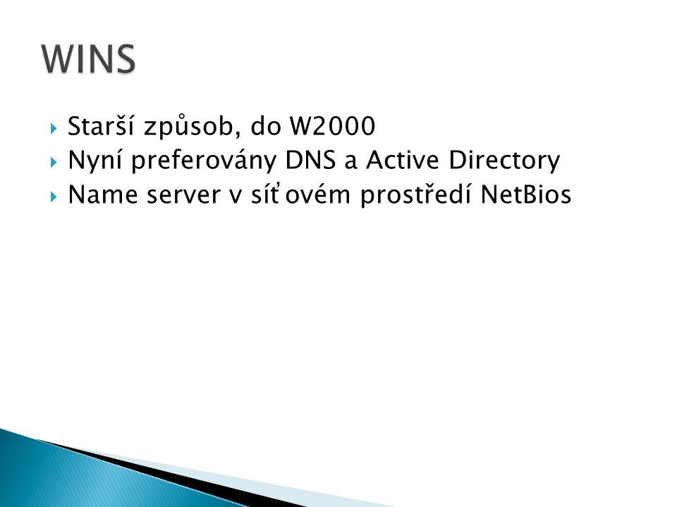  Starší způsob, do W2000  Nyní preferovány DNS a Active Directory  Name server v síťovém prostředí NetBios