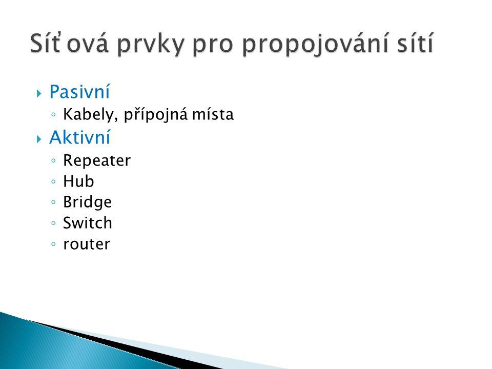  Pasivní ◦ Kabely, přípojná místa  Aktivní ◦ Repeater ◦ Hub ◦ Bridge ◦ Switch ◦ router