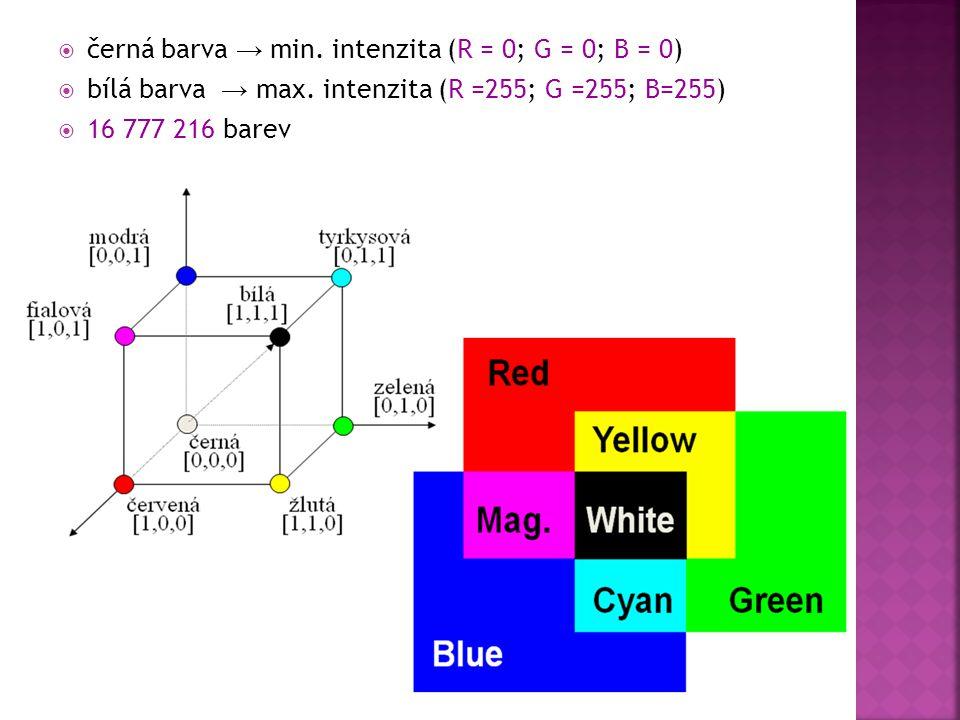  černá barva → min. intenzita (R = 0; G = 0; B = 0)  bílá barva → max. intenzita (R =255; G =255; B=255)  16 777 216 barev