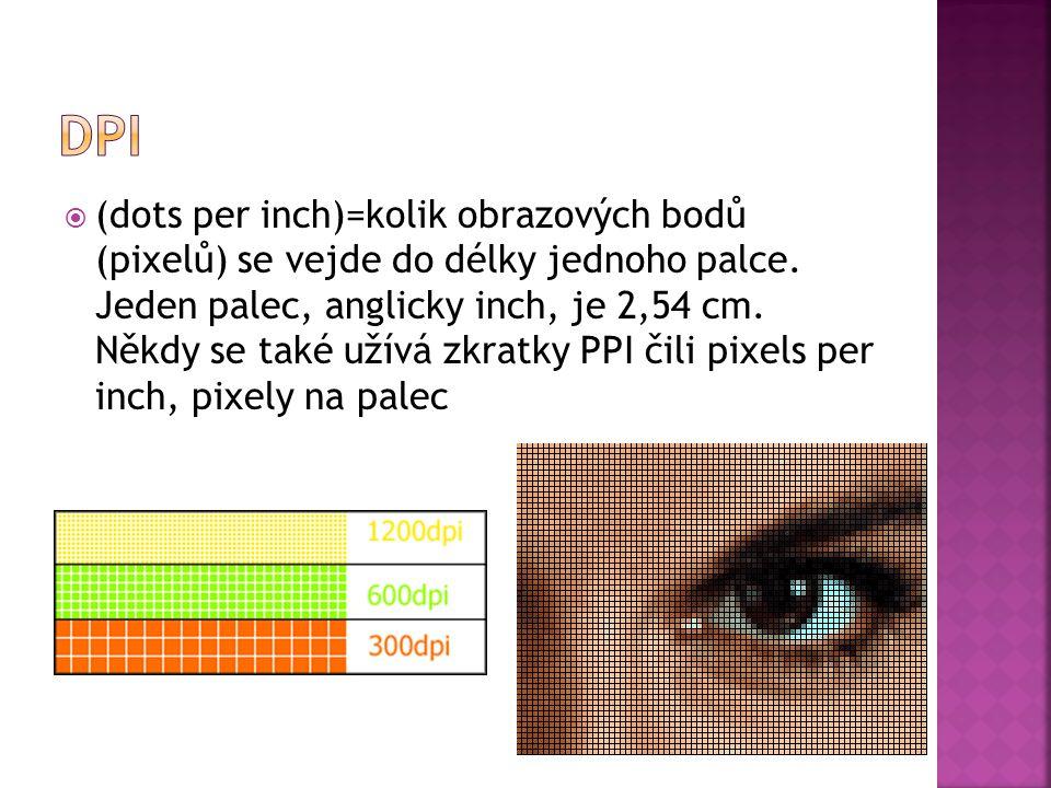  (dots per inch)=kolik obrazových bodů (pixelů) se vejde do délky jednoho palce. Jeden palec, anglicky inch, je 2,54 cm. Někdy se také užívá zkratky