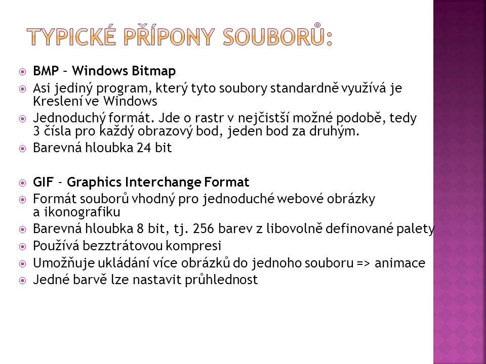  BMP – Windows Bitmap  Asi jediný program, který tyto soubory standardně využívá je Kreslení ve Windows  Jednoduchý formát.