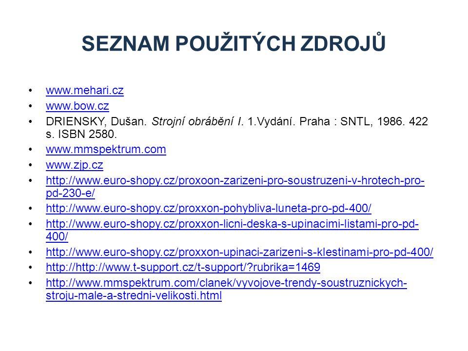 www.mehari.cz www.bow.cz DRIENSKY, Dušan. Strojní obrábění I. 1.Vydání. Praha : SNTL, 1986. 422 s. ISBN 2580. www.mmspektrum.com www.zjp.cz http://www