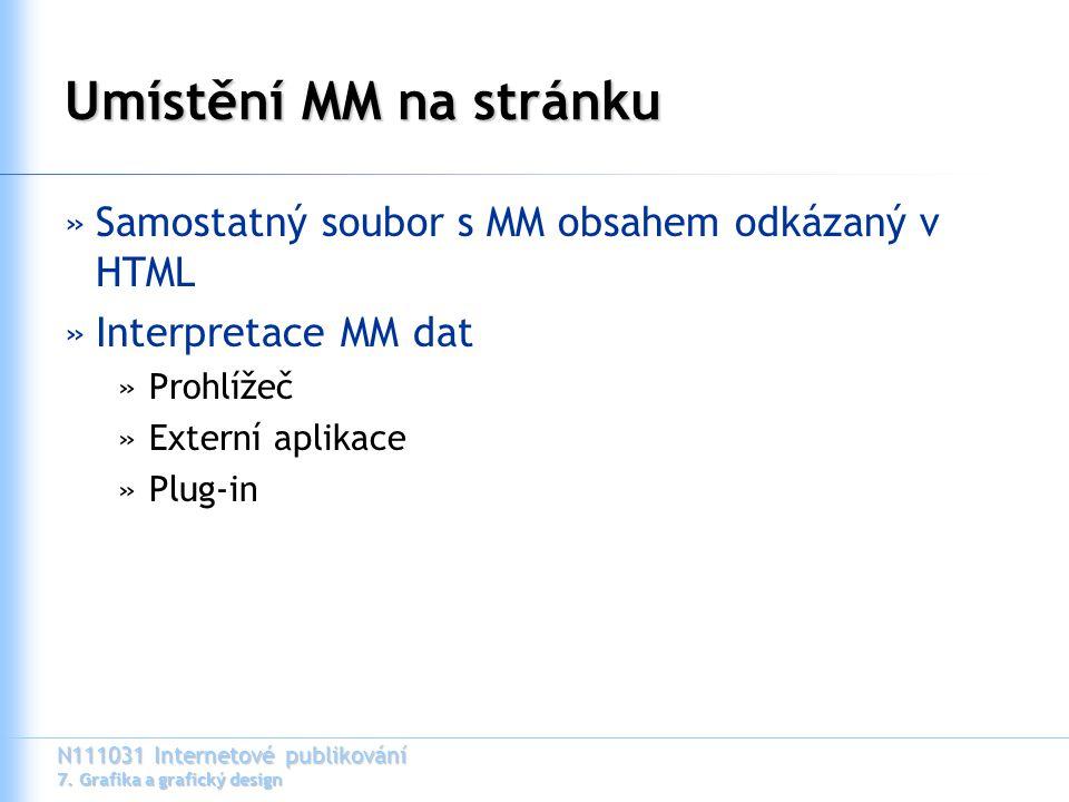 N111031 Internetové publikování 7. Grafika a grafický design Umístění MM na stránku »Samostatný soubor s MM obsahem odkázaný v HTML »Interpretace MM d