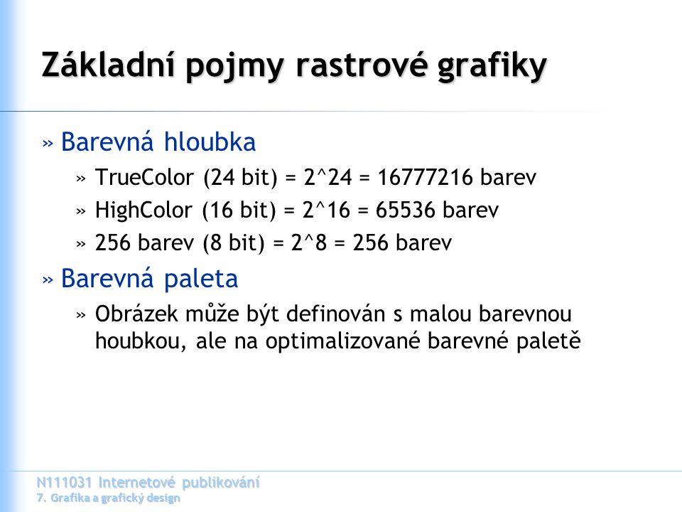 N111031 Internetové publikování 7. Grafika a grafický design Základní pojmy rastrové grafiky »Barevná hloubka »TrueColor (24 bit) = 2^24 = 16777216 ba